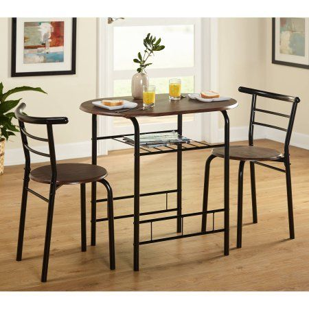 3 Piece Wood Dining Set Table And 2 Padded Chairs Sturdy Metal Frame Saves Space Extra Shelf Idea Bistro Table Set Kitchen Bistro Set Small Kitchen Tables