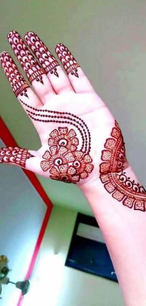 Henna Designs Easy on Palm for Beginner with Simple Design