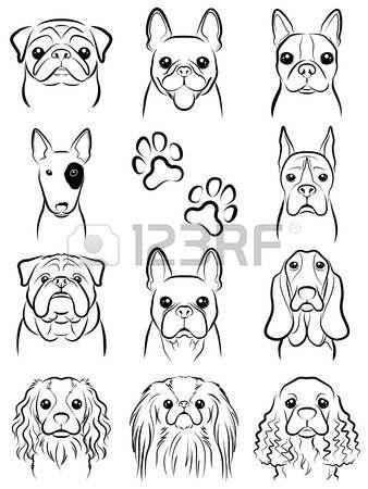 Stock Vector картинки татуировки с собакой гриффонаж и