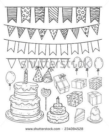 birthday party theme clipart vector to draw