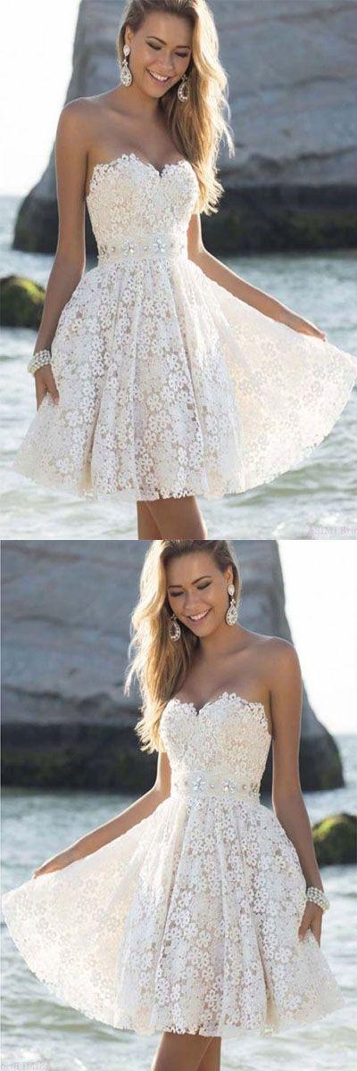 Elegant Sweatheart Knee Length Short White Homecoming Prom Dresses#dresses #elegant #homecoming #knee #length #prom #short #sweatheart #white