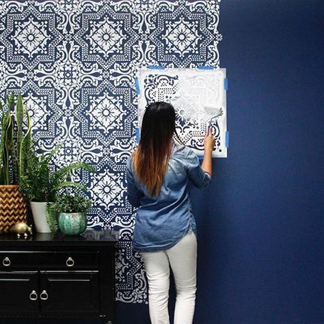 Already Tired Of Your Boring Builder Beige Walls Here S An Idea That S Pretty And Practical Click Stencil Painting On Walls Stencils Wall Bedroom Wall Paint
