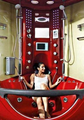 Aqua Brand New Red Steam Shower Whirlpool Bathtub With Massage
