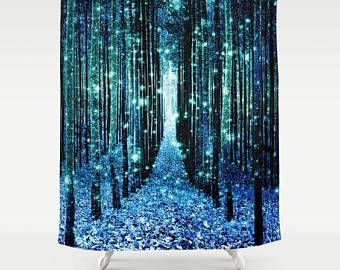 Shower Curtain Magical Forest Path Shower Curtain Turquoise Teal