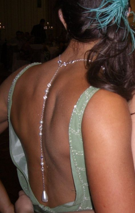 Oooh!  Imagine this with a backless wedding dress! (Old Hollywood Glamour Backdrop Necklace Wedding by GlistenDesigns, $75.00)