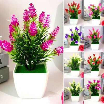 Artificial Fake Potted Flower Plant Bonsai Outdoor Indoor Garden Home Decoration Floral Decor Ebay Link In 2020 Fake Potted Plants Lily Flower Fake Plants Decor