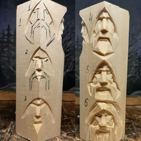 Simple Wood Carving, Wood Carving Faces, Dremel Wood Carving, Wood Carving Designs, Wood Carving Patterns, Wood Carving Art, Wood Art, Stone Carving, Whittling Projects