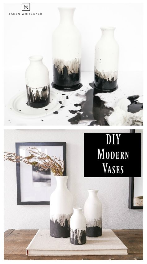 DIY Black and White Modern Ceramic Vases - Taryn Whiteaker Learn how to make these DIY Black and White Modern Ceramic Vases, grab matte ceramic vases at the craft store and use black chalk paint with a water color effect. 10 minute craft anyone can do. Ceramic Painting, Ceramic Vase, Diy Painting, Painting Vases, Br House, Black Chalk Paint, Modern Ceramics, Fall Diy, Vases Decor