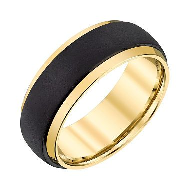 Men S 8mm Black And Yellow Tungsten Textured Wedding Band With