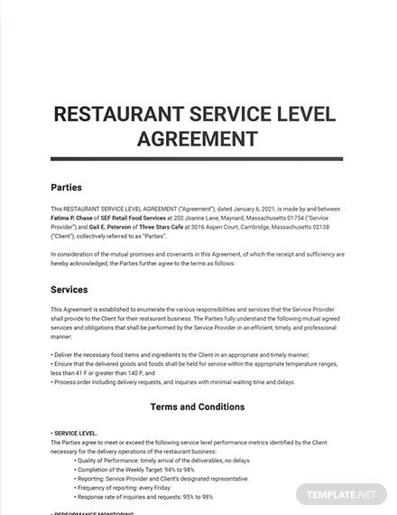 Instantly Download Restaurant Service Level Agreement Template Sample Example In Microsoft Word Doc G Service Level Agreement Restaurant Service Word Doc