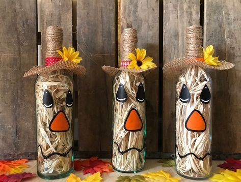 Scarecrow Wine Bottle by WineNotCraftsDesigns on Etsy https://www.etsy.com/listing/623125680/scarecrow-wine-bottle