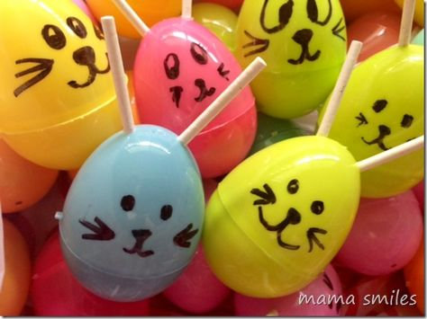 Plastic Easter egg bunnies from mamasmiles.com - easy and fun to make! Use leftover plastic eggs to make these into aliens AFTER Easter!  What is your favorite Easter craft for kids?