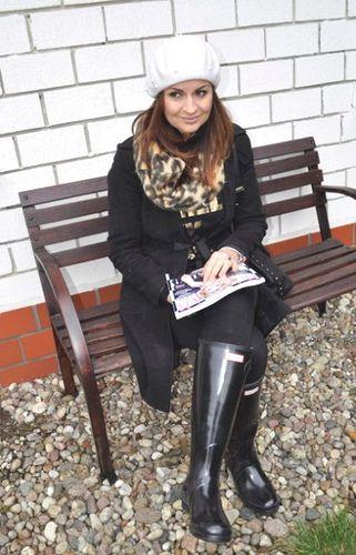 Woman Wearing Black Hunter Boots