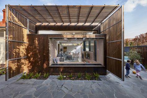 auvent à claire voie extension maison moderne bois   Création maison ...