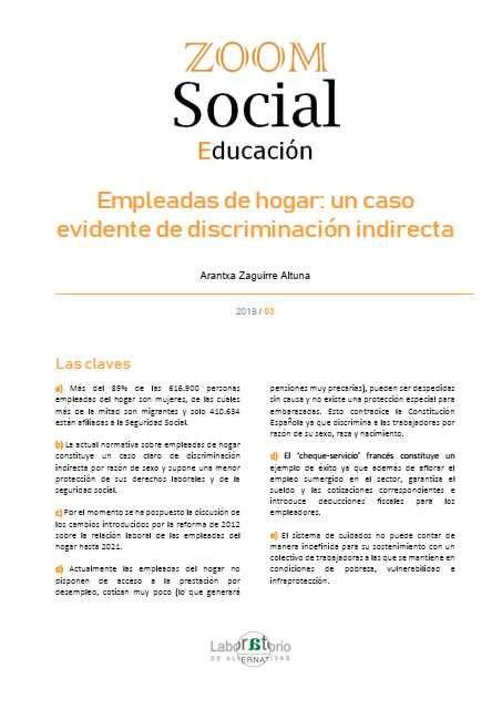 Empleadas De Hogar Un Caso Evidente De Discriminación Indirecta Madrid Los Libros De La Catarata Fundación Alternativas 2019 16 P