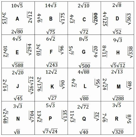 Simplifying Radicals Worksheet Answer Key Inspirational Simplifying Square Puzzle Alig In 2020 Simplifying Radicals Simplifying Radical Expressions Radical Expressions
