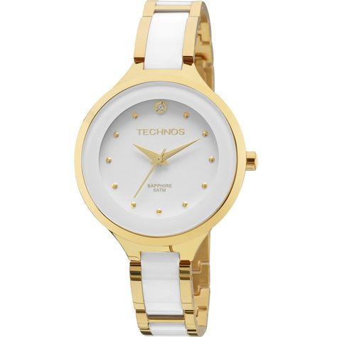 Relógio Technos Elegance Ceramic Analógico Branco 2035lyw 4b - Relógio  Technos Ceramic feminino branco com detalhes em dourado. Além do vidro em  Cristal, ... c0d7adc518