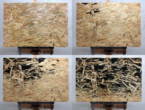 Artist Pejac uses pressed wood as the canvas for his inky paintings of man versus nature