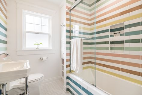 Striped Rainbow Bathroom Tile | Fireclay Tile