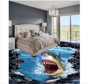 3d wallpaper custom 3d flooring painting wallpaper murals Shark 3D three-dimensional painting wall 3d living room photo wallpaer