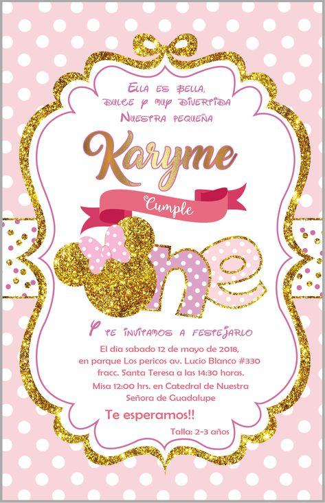 2e4da052f Tarjetas Invitaciones Minnie Lila Y Glitter Dorado