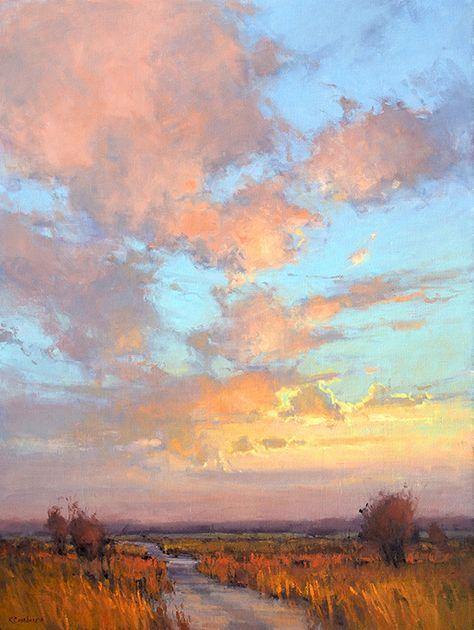 Artist: Kim Casebeer; Title: Dusk on Skyline Road; Medium: Oil. I think this road is in Kansas, USA.