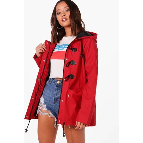united states hot-selling cheap how to purchase Boohoo Leah Rubberised Rain Mac With Toggles ($41) ❤ liked ...
