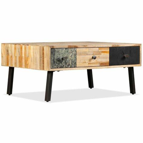Table Basse Vidaxl En Teck Regenere Table De Salon 90x65x40 Cm