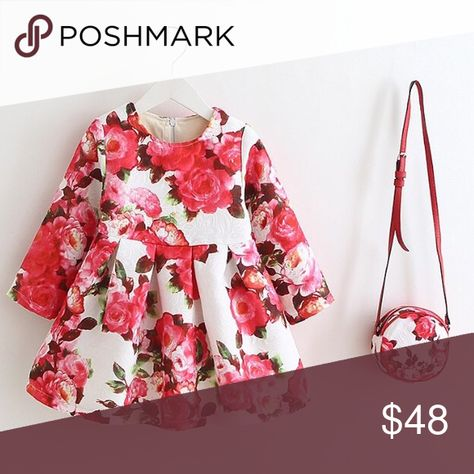 f24ea5ab5049 Toddler little girls floral winter dress bag set Beautiful toddler little  girls handmade floral formal party dress and bag set. Outer material 100%  cotton.