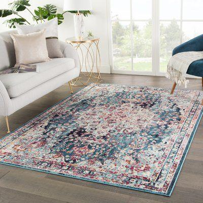 Bungalow Rose Aleena Medallion Teal Maroon Area Rug Blue Carpet