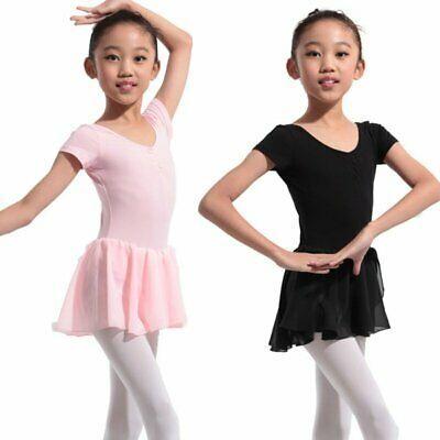 US Kids Girls Gymnastics Leotard Dress Ballet Dance Costume Tutu Skirt Dancewear