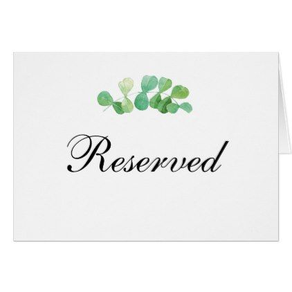 Summer wedding reserved sign  Green table card | Zazzle com