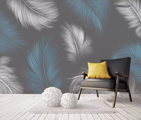 Hand Painted Blue And White Feather Wall Paper Removable Fabric Wallpaper Dark Background Wall Decor Mural Peel And Stick Wallpaper In 2021 Wallpaper Walls Decor Feather Wallpaper Feather Wall