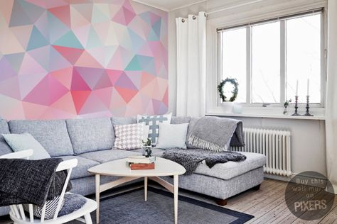 Geometric pastels • Scandinavian - Living room ✓ 365 Day Money Back Guarantee ✓ Consulting on the Pattern Selection ✓ 100% Safe✓ Set up online!