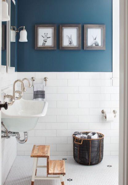 Adding Colour To Your Bathroom With Paint Dark Blue Walls White Tiles White Double Sink Til Bathroom Tile Inspiration Stylish Bathroom Modern Bathroom Tile