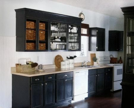 black cabinets white appliances | Cottage . I was thinking white appliances  against the black cabinets ... | Kitchen | Pinterest | White appliances, ...