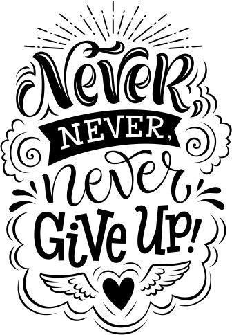 Наклейки для интерьера - Креативные Надписи-Леттеринг - Never give up2