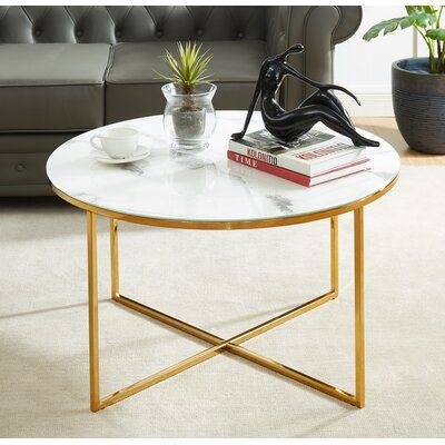 Everly Quinn Harvin Cross Legs Coffee Table In 2021 Coffee Table Gold Living Room Decor Glass Top Coffee Table