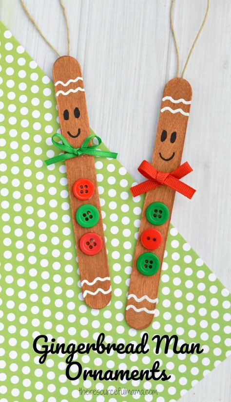 Transform basic craft sticks into this super cute gingerbread man ornament for your Christmas tree. Transform basic craft sticks into this super cute gingerbread man ornament for your Christmas Easy DIY Christmas Ornaments for Kids - The Thrifty K Popsicle Stick Crafts, Craft Stick Crafts, Craft Sticks, Popsicle Sticks, Craft Ideas, Resin Crafts, Popcicle Stick Ornaments, Felt Crafts, Kids Crafts