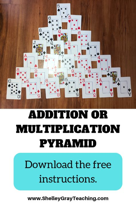 Addition or Multiplication Pyramid Card Game This is a two player fact fluency card game that can b Math Multiplication Games, Math Card Games, Card Games For Kids, Fun Math, Fluency Games, Math Fact Fluency, Kids Math, Baby Must Haves, Fourth Grade Math