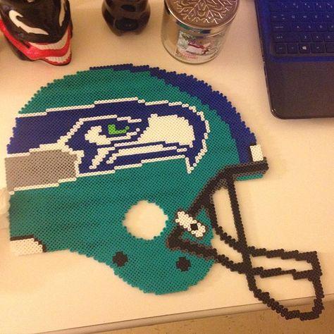 Seahawks helmet perler beads by maries_perlerart