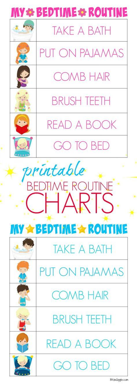 Printable Bedtime Routine Charts - Bitz & Giggles