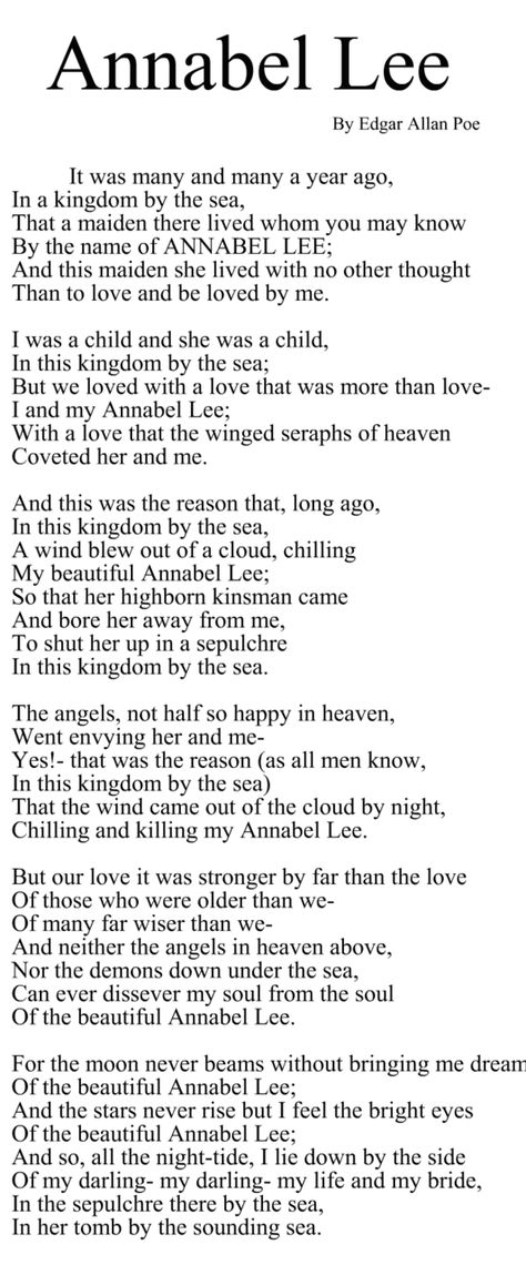 analysis of edgar allan poes poem annabel Annabel lee it was many and many a year ago, in a kingdom by the sea, that a maiden there lived whom you may know by the name of annabel lee and this maiden she lived with no other thought than to love and be loved by me.