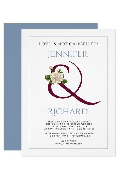 Burgundy ampersand rose dusty blue virtual wedding invitation. #invitation #ampersand #wedding #virtualwedding #burgundy #dustyblue #rose