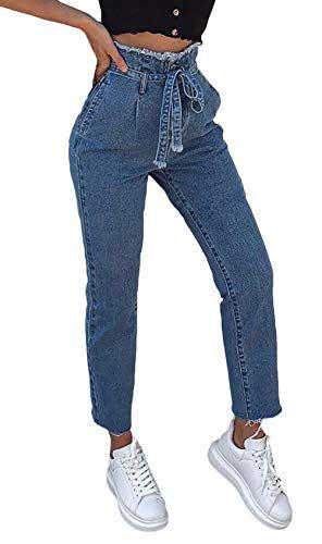 55f99d286 Vaqueros Mujer Elegantes Moda Vintage Pantalones Vaqueros Cintura ...