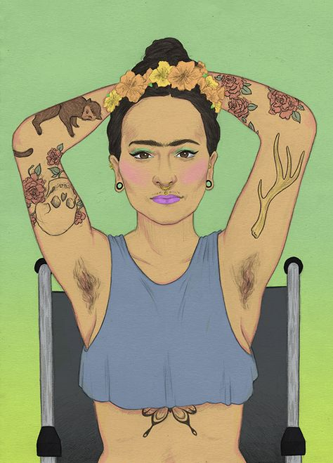Portrait of a modern day Frida Kahlo, Laura Wilson illustration interview.