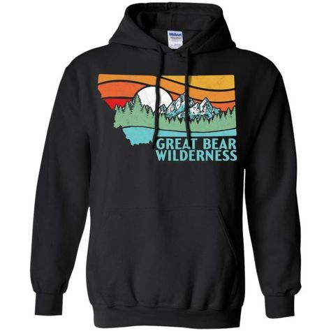 baa5ab04a6d0 Great Bear Montana Outdoors Retro Mountains Tee Pullover Hoodie - BigShopper