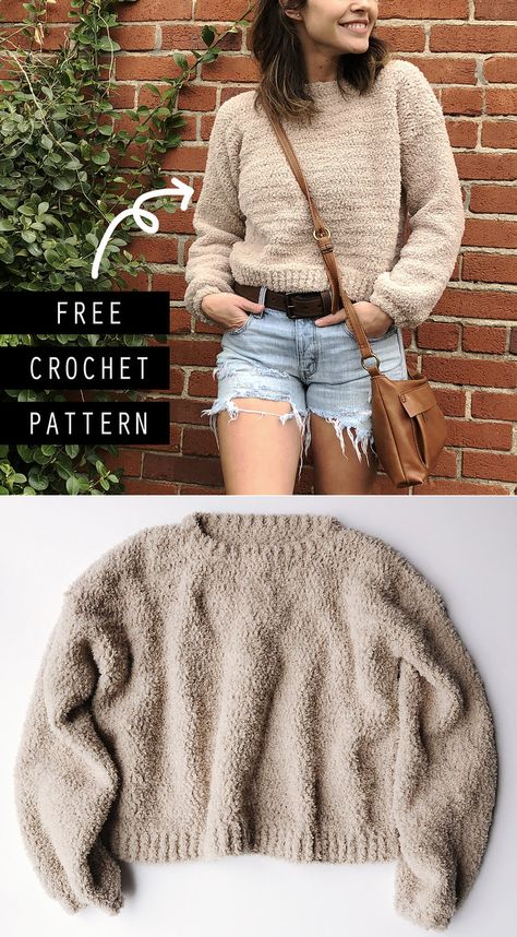 Cropped Crochet Sweater Free Pattern - Megmade with Love crochet pattern The Cloud Nine Cropped Sweater - Free Crochet Pattern Cropped Pullover, Baby Pullover, Cropped Tops, Cropped Sweater, Sweater Coats, Pull Crochet, Mode Crochet, Knit Crochet, Crochet Shrugs