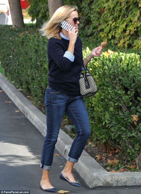 Reese Witherspoon Joins Fairytale Film 'Happily Ever After'!: Photo Reese Witherspoon chats on a cell phone while leaving a studio on Thursday afternoon (October in Santa Monica, Calif.