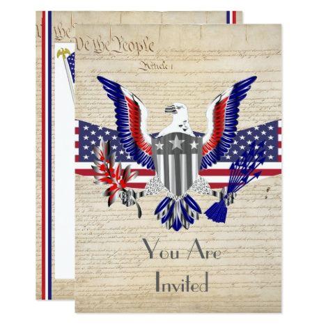 Patriotic American Eagle Flag And Constitution Invitation